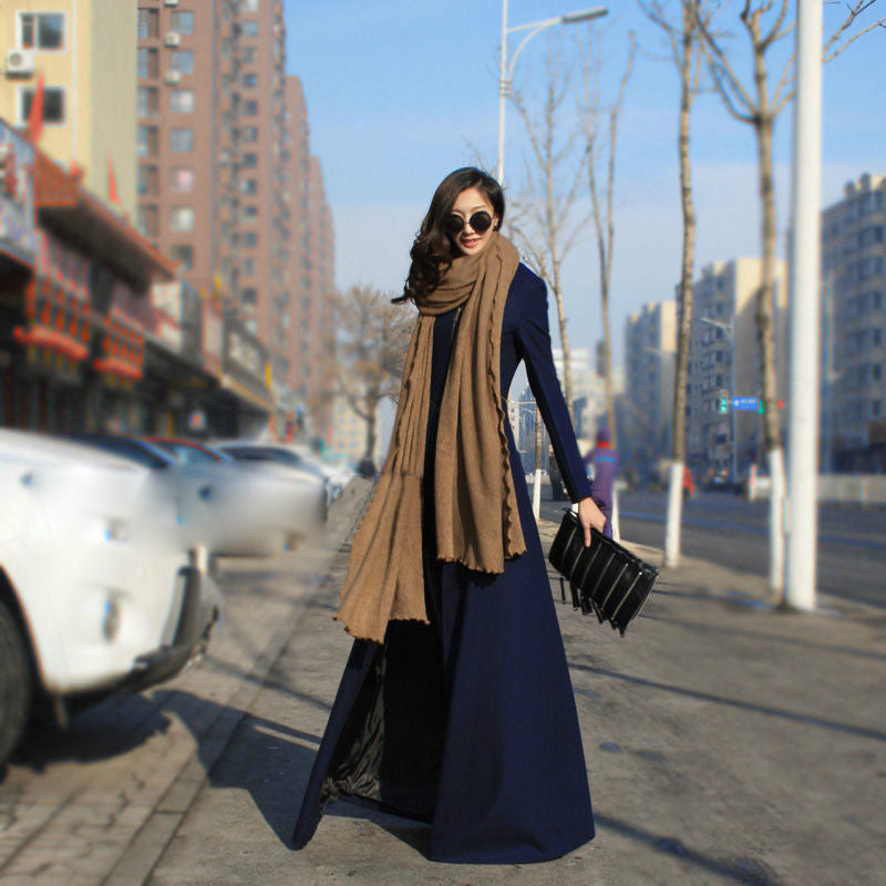 Beautiful High Neck Slim Super Long Coat - Oh Yours Fashion - 1