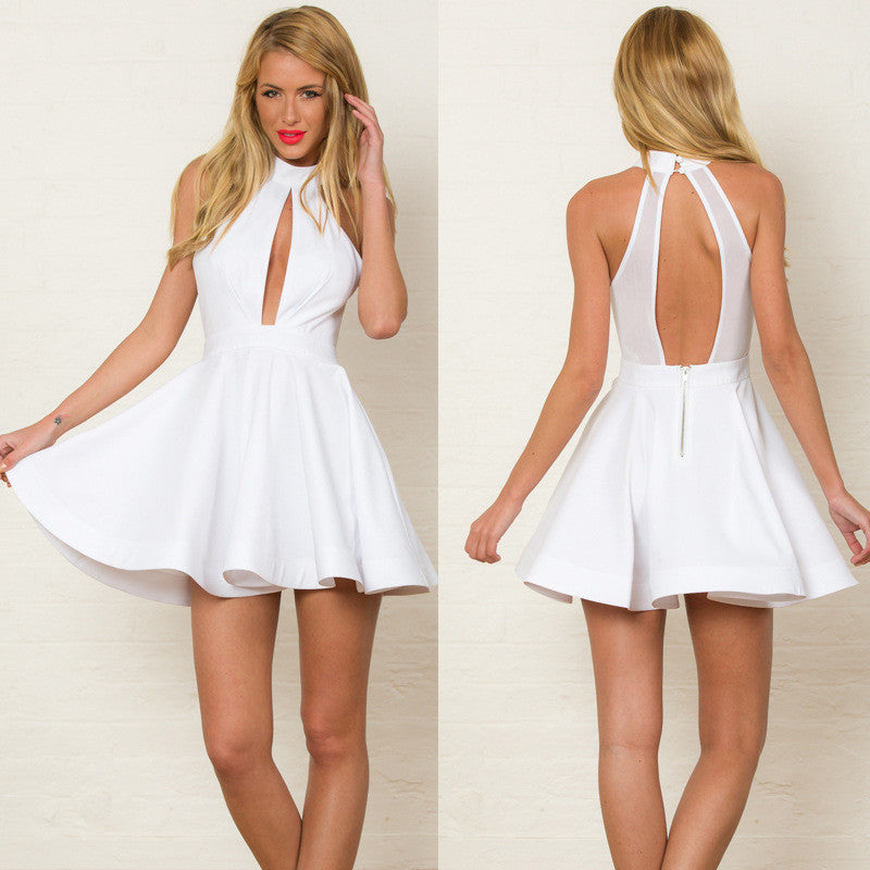 Sexy Hollow Out Empire Bear Shoulder Skater Short Dress - Oh Yours Fashion - 1