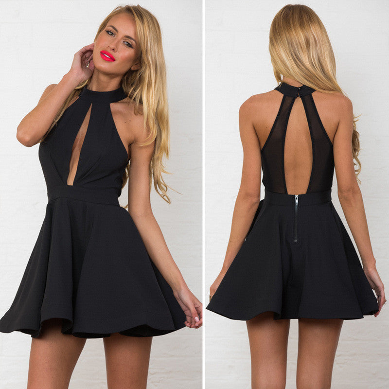 Sexy Hollow Out Empire Bear Shoulder Skater Short Dress - Oh Yours Fashion - 4