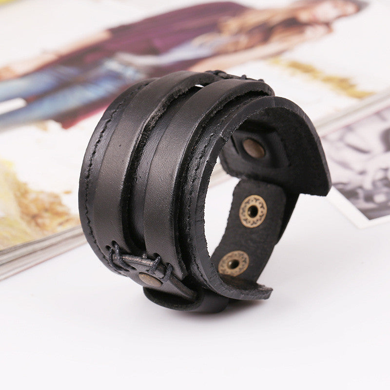 Fashion Wide Strap Leather Bracelet - Oh Yours Fashion - 1