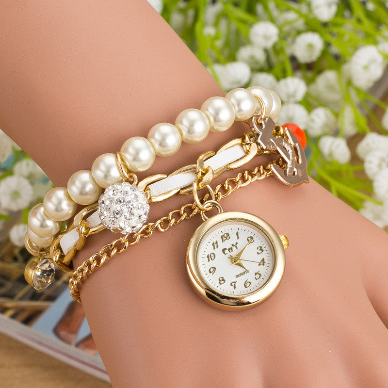 Fashion Pearl Beads Anchor Tassel Bracelet Watch - Oh Yours Fashion - 1