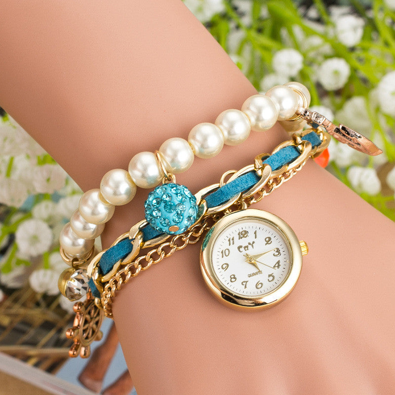 Fashion Pearl Beads Anchor Tassel Bracelet Watch - Oh Yours Fashion - 3