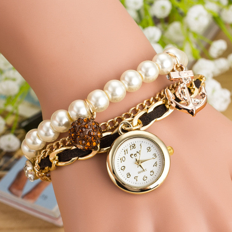 Fashion Pearl Beads Anchor Tassel Bracelet Watch - Oh Yours Fashion - 4