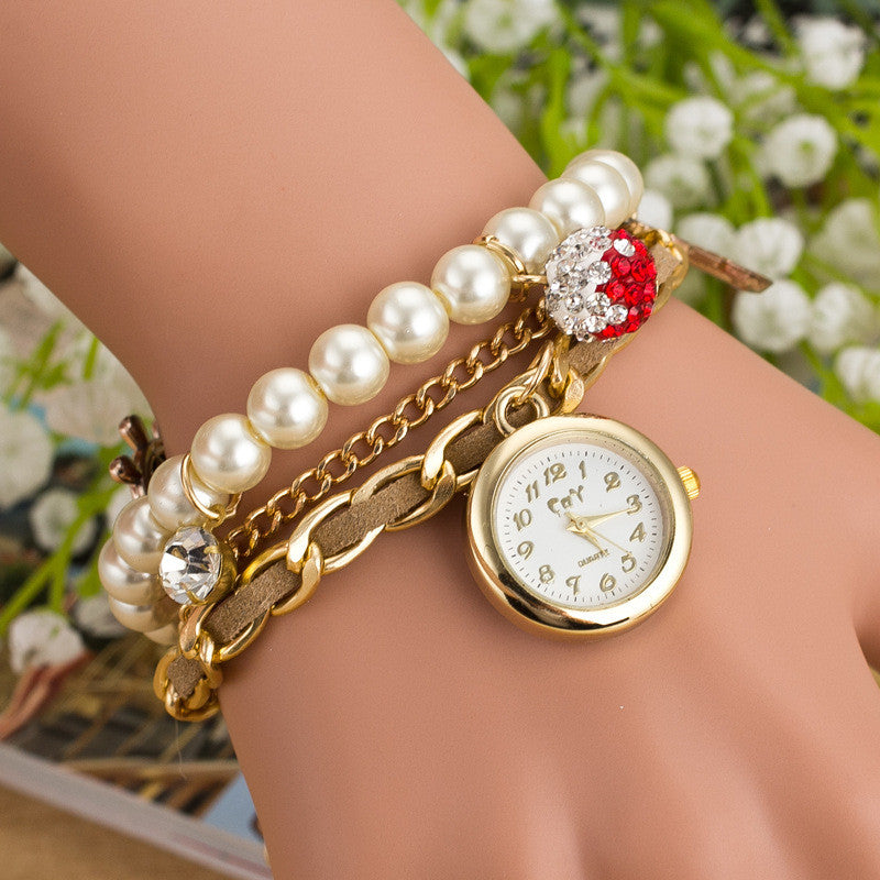 Fashion Pearl Beads Anchor Tassel Bracelet Watch - Oh Yours Fashion - 5