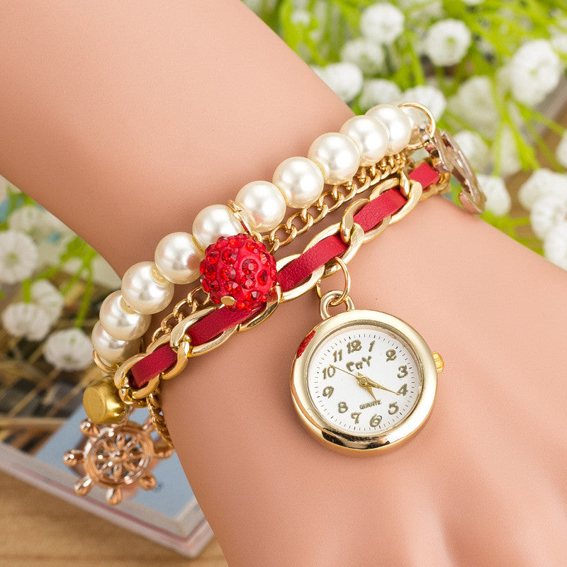 Fashion Pearl Beads Anchor Tassel Bracelet Watch - Oh Yours Fashion - 2