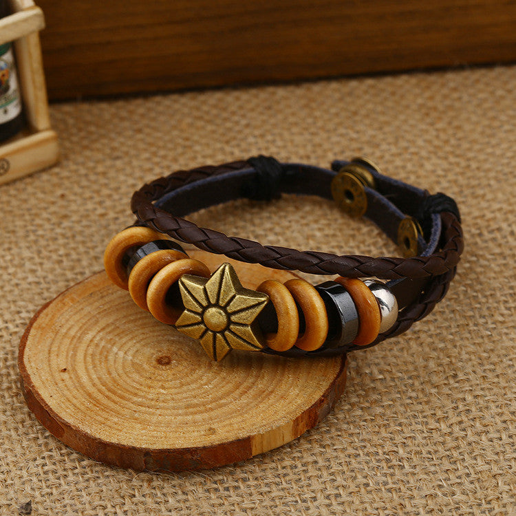 Fashion Beaded Woven Leather Bracelet - Oh Yours Fashion - 1