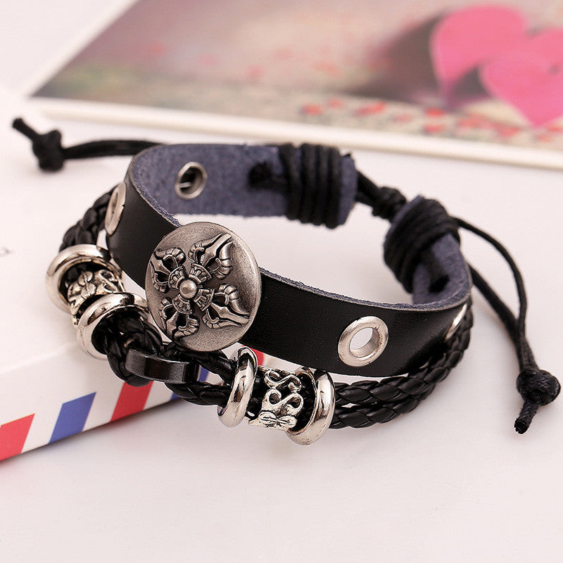 Hollow Beads Carving Flower Leather Bracelet - Oh Yours Fashion - 3