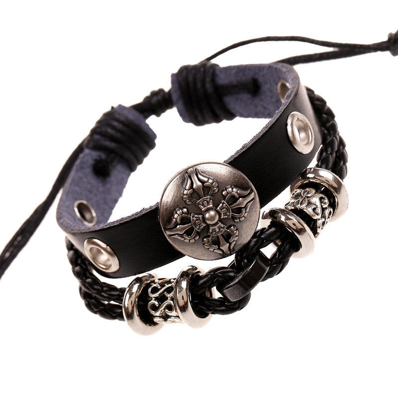 Hollow Beads Carving Flower Leather Bracelet - Oh Yours Fashion - 1
