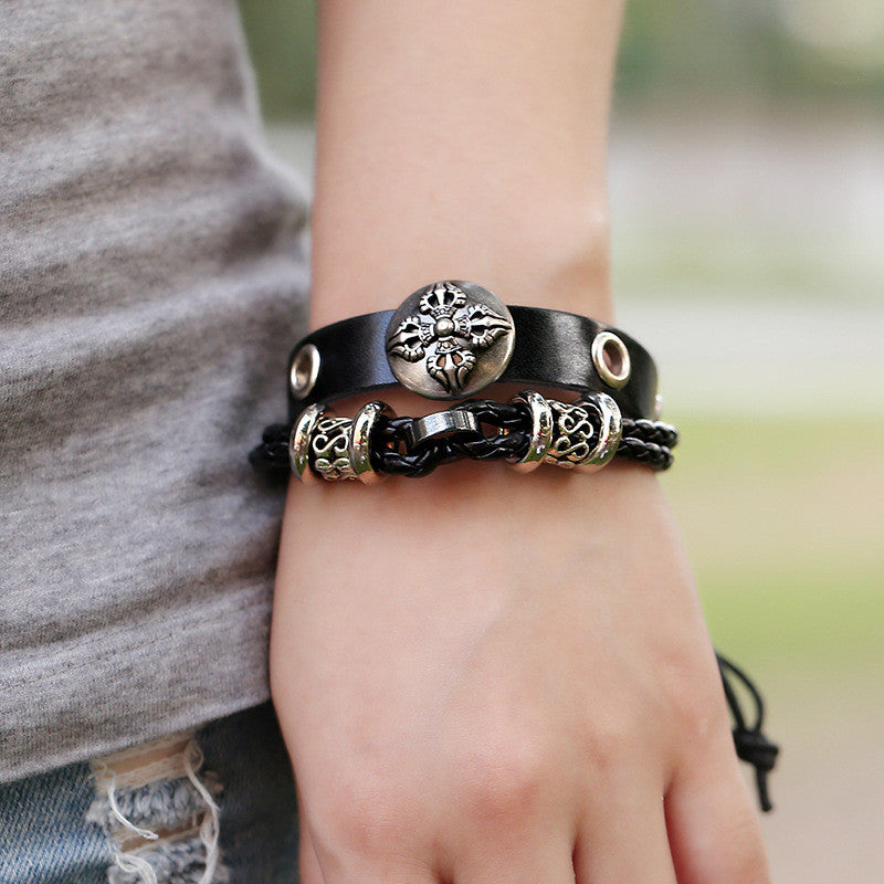 Hollow Beads Carving Flower Leather Bracelet - Oh Yours Fashion - 2