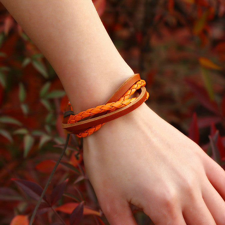 Color Vintage Woven Leather Bracelet - Oh Yours Fashion - 1