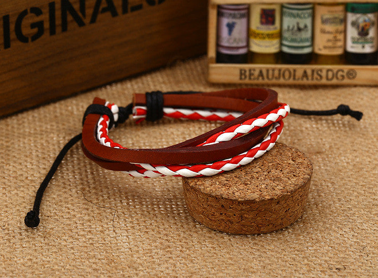 Color Vintage Woven Leather Bracelet - Oh Yours Fashion - 10