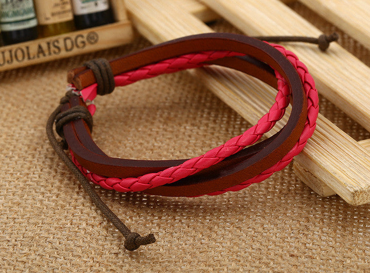 Color Vintage Woven Leather Bracelet - Oh Yours Fashion - 7