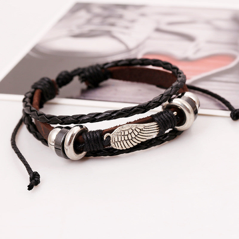 Fashion Wing Beaded Leather Bracelet - Oh Yours Fashion - 3