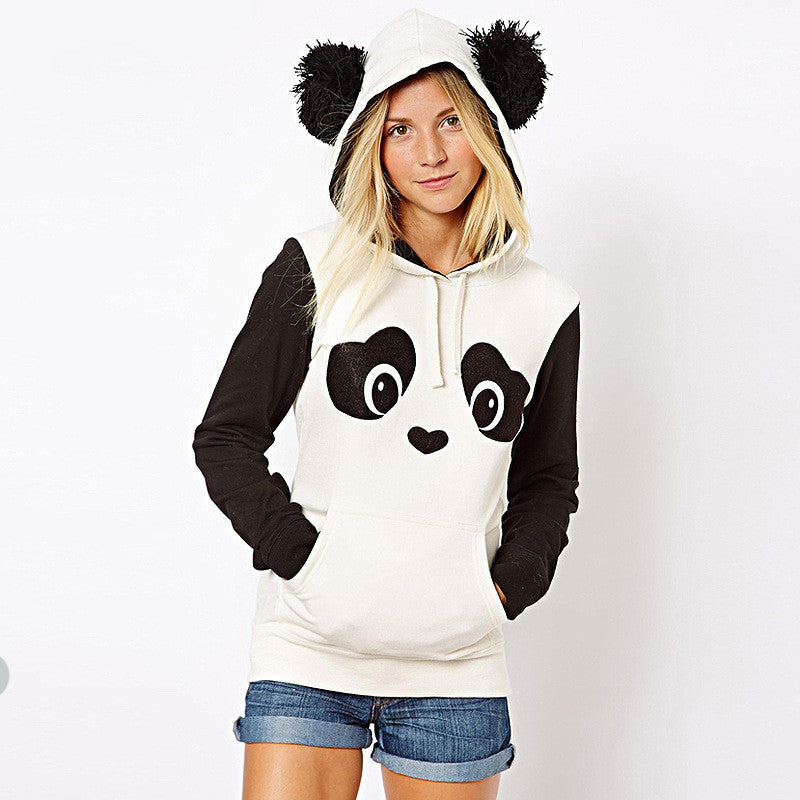 Panda Print Contrast Color Hooded Cute Sweatshirt - Oh Yours Fashion - 2
