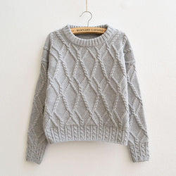 Cable Retro Solid Color Scoop Knit Sweater - Oh Yours Fashion - 1