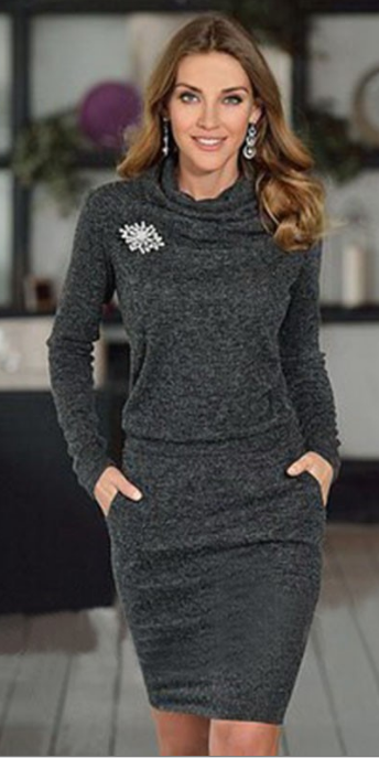 Pure Color Long Sleeves Knee-Length Office Dress - Oh Yours Fashion - 2