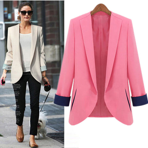 Slim Straight Lapel Collar Fashion Short Blazer