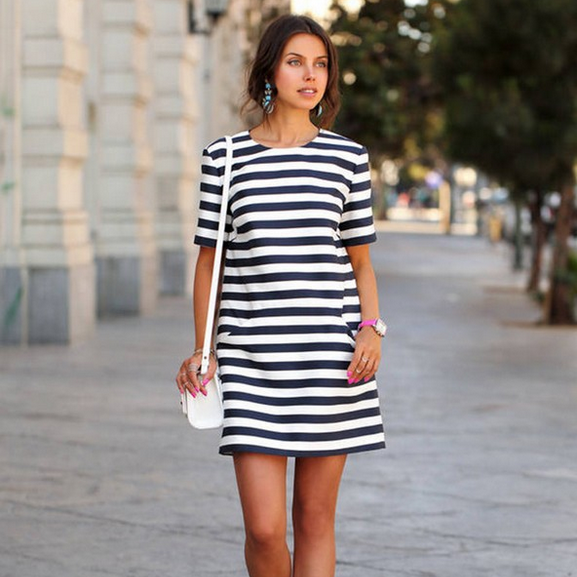 Stripe O-neck Short Sleeve Short Dress - Meet Yours Fashion - 2