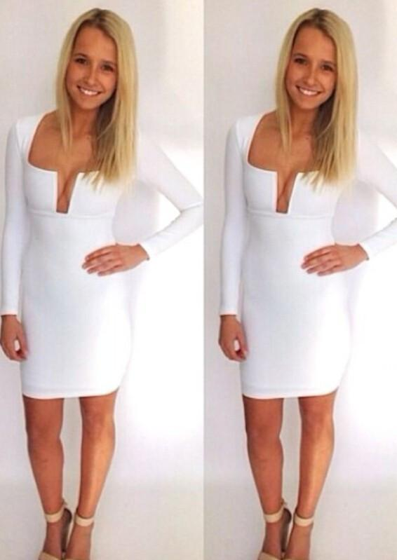 Long Sleeve Deep Plunge Neckline Short Dress - Meet Yours Fashion - 4