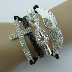 Retro Crystal Angel Wings Cross Leather Cord Bracelet - Oh Yours Fashion - 4