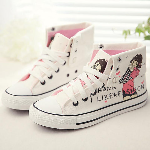 Sweet Hand-Painted Lace Up Canvas Sneakers