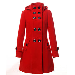 Double Button Hooded Long Sleeves Mid-length Wool Thick Coat - Oh Yours Fashion - 4