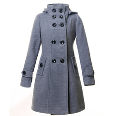 Double Button Hooded Long Sleeves Mid-length Wool Thick Coat - Oh Yours Fashion - 8