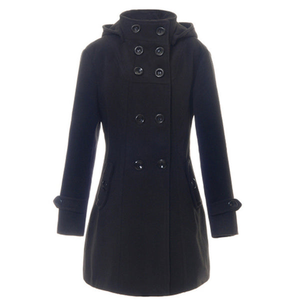 Double Button Hooded Long Sleeves Mid-length Wool Thick Coat - Oh Yours Fashion - 1