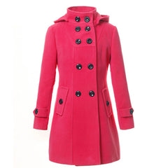 Double Button Hooded Long Sleeves Mid-length Wool Thick Coat - Oh Yours Fashion - 6