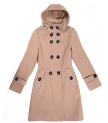 Double Button Hooded Long Sleeves Mid-length Wool Thick Coat - Oh Yours Fashion - 5