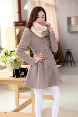 Removable Fur Collar Long Woolen Coat - Oh Yours Fashion - 2