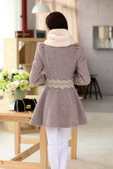 Removable Fur Collar Long Woolen Coat - Oh Yours Fashion - 4