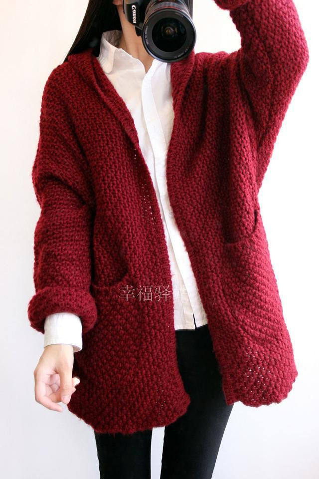 Cardigan Knit Coarse Yarn Batwing Loose Sweater - Oh Yours Fashion - 4