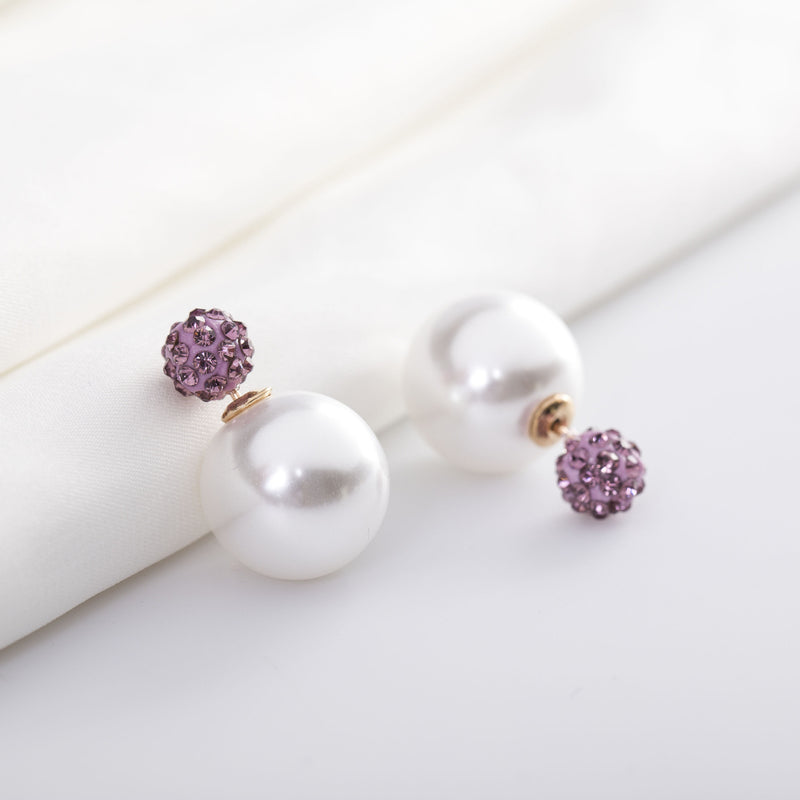 Charming Crystal Ball Pearl Earring - Oh Yours Fashion - 25
