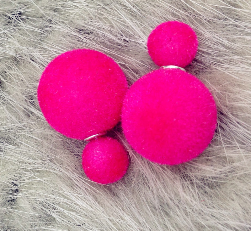 Korea Style Velvet Ball Fashion Earring - Oh Yours Fashion - 7