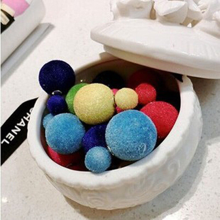 Korea Style Velvet Ball Fashion Earring - Oh Yours Fashion - 14