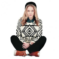 Women Loose Geometry Printed Pullover Sweater - Oh Yours Fashion - 3