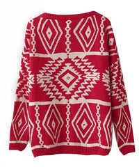Women Loose Geometry Printed Pullover Sweater - Oh Yours Fashion - 8