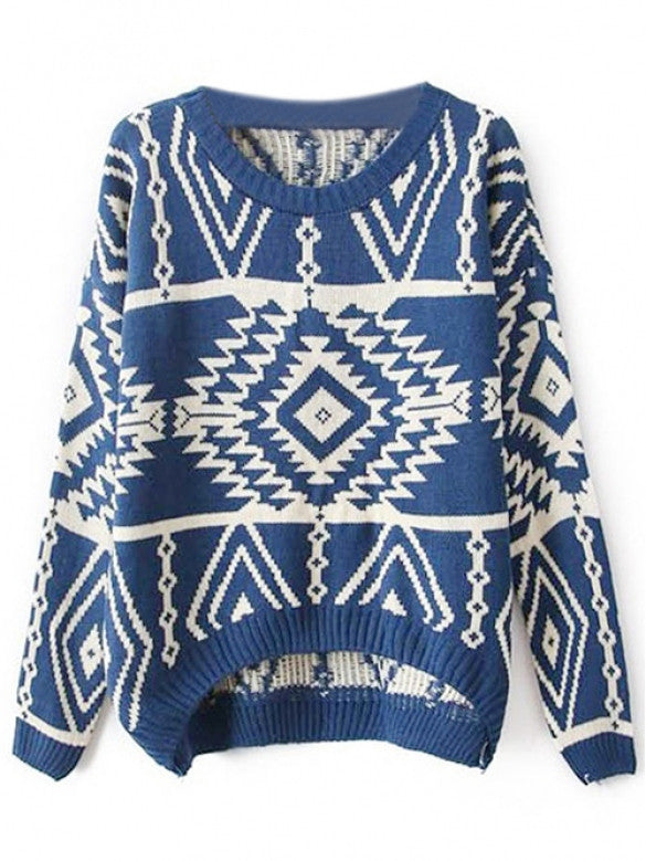 Women Loose Geometry Printed Pullover Sweater - Oh Yours Fashion - 6