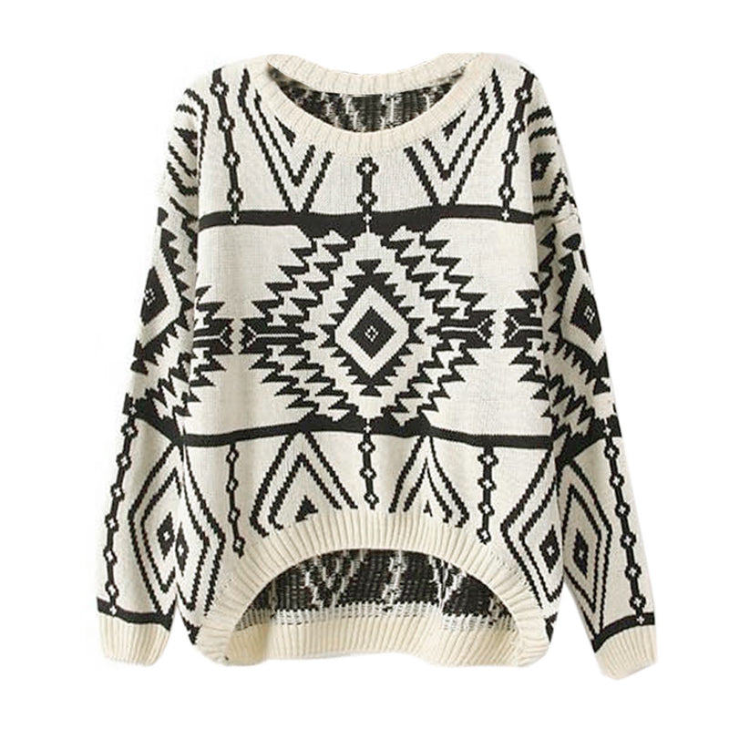 Women Loose Geometry Printed Pullover Sweater - Oh Yours Fashion - 1