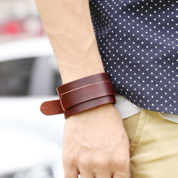 Pure Color Wide Strap Leather Bracelet - Oh Yours Fashion - 5