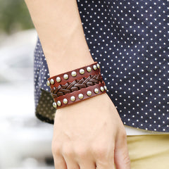 Wide Rivet Braided Leather Bracelet - Oh Yours Fashion - 3