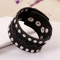 Wide Rivet Braided Leather Bracelet - Oh Yours Fashion - 2