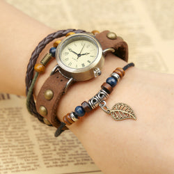 Hollow Out Leaf Rivet Strap Watch - Oh Yours Fashion - 1