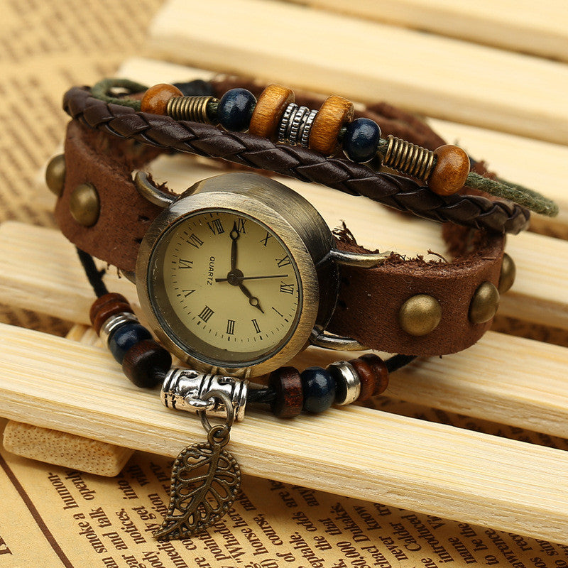 Hollow Out Leaf Rivet Strap Watch - Oh Yours Fashion - 3