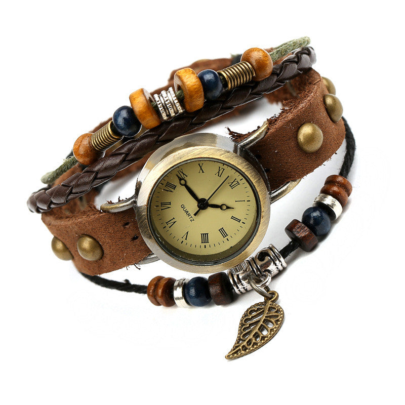 Hollow Out Leaf Rivet Strap Watch - Oh Yours Fashion - 2