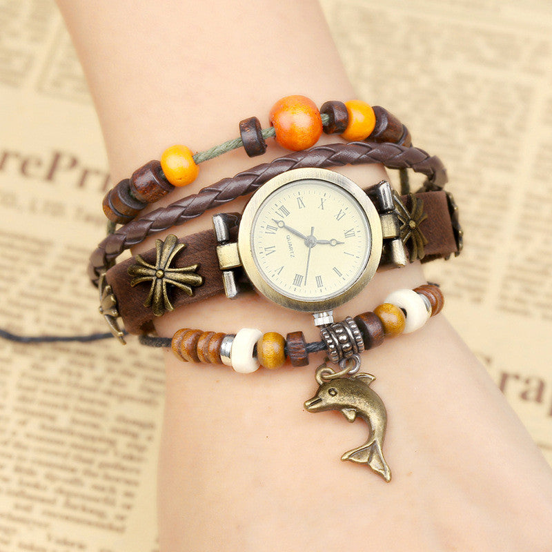 Dolphin Metal Flower Multilayer Watch - Oh Yours Fashion - 1