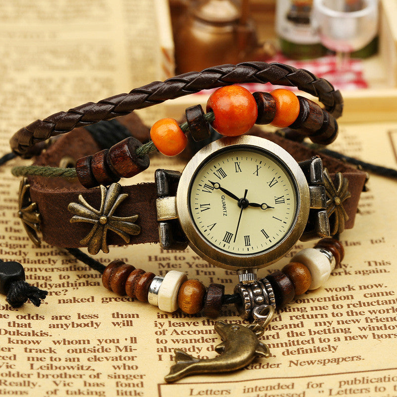 Dolphin Metal Flower Multilayer Watch - Oh Yours Fashion - 3