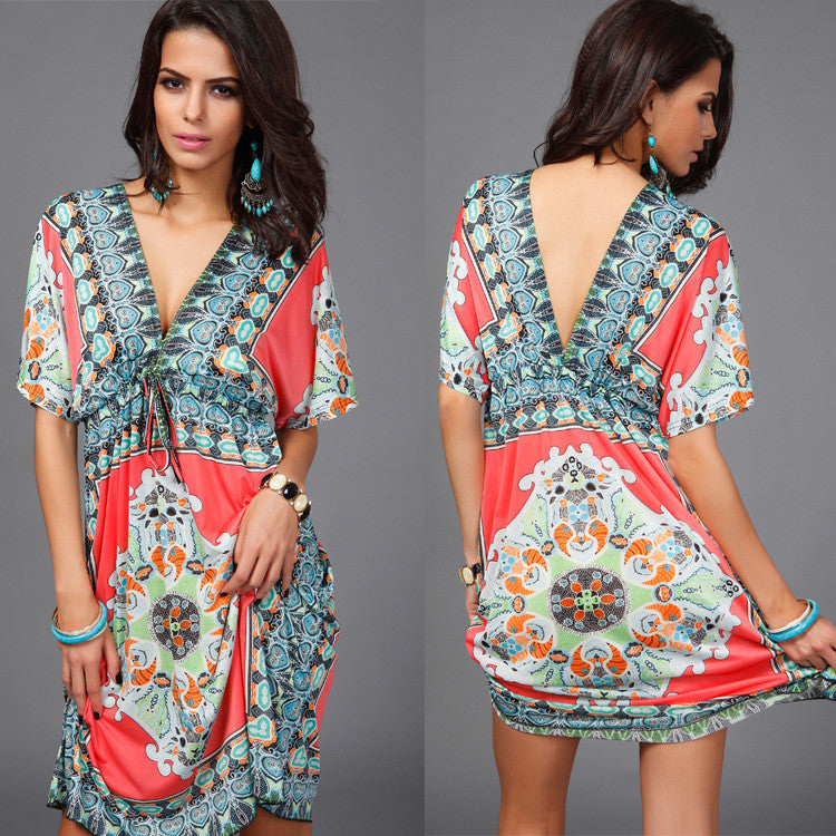 Plus Size Print V Neck Drawstring Loose Short Beach Dress - Oh Yours Fashion - 9