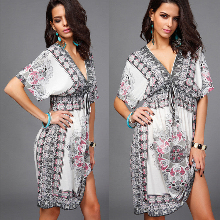 Plus Size Print V Neck Drawstring Loose Short Beach Dress - Oh Yours Fashion - 1